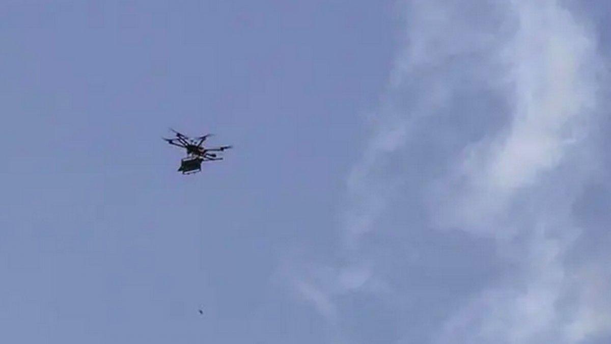 Çanakkale'de insansız helikopter düştü