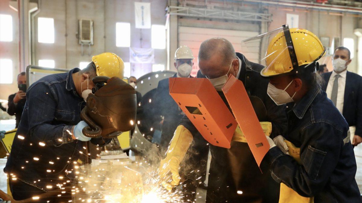 Kaynak ustası Melek, Cumhurbaşkanı Erdoğan ile kaynak yaptı