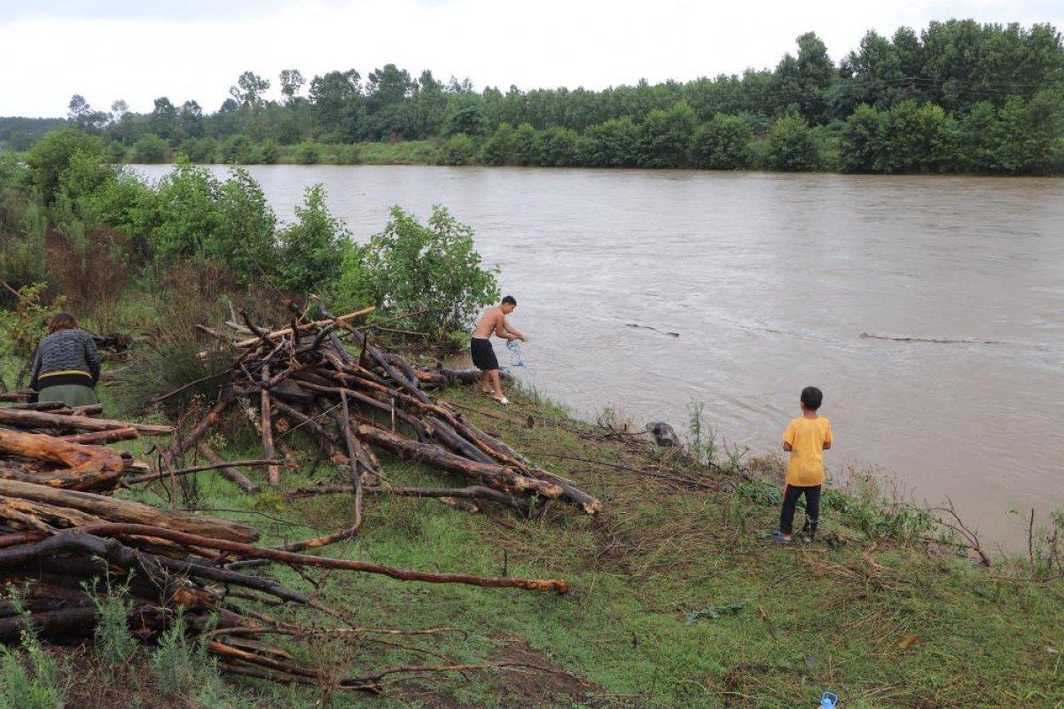 Samsun da sağanak yağış sonrası Terme Çayı ndan odun toplandı #1