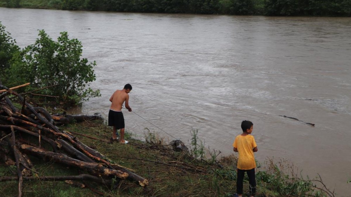 Samsun'da sağanak yağış sonrası Terme Çayı'ndan odun toplandı